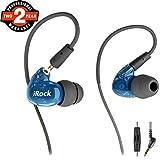 Sport Ohrhörer, Aitalk A8 Dual Driver's Musiker In-Ear Monitore mit Mikrofon Ohrbügel abnehmbares Kabel Geräuschisolierende Kopfhörer für die Übung Training Joggen Fitnessstudio Laufen - Blau