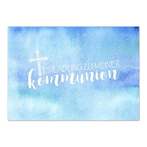 15 x Einladungskarten Kommunion mit Umschlag / Für Jungen Blau Modern / Kommunionskarten / Einladungen zur Feier