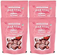 Harveys Crunchy & Creame Gourmet Delicacies Cream Wafer Biscuit 110 g Pouch Pack - Strawberry Flavoured (Pack of 4)