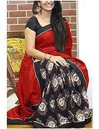 Vinayak Textiles Women's Bhagalpuri Silk Saree With Blouse Piece(VTGTNCT107 red Free size)