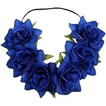 Kanggest 1 Piezas Diadema de Flores Mujer Venda de Pelo Alta Elasticidad Rosas y Hoja Cinta de Pelo Banda Para la Cabeza Para Adornos Para el Pelo Boda(Azul)