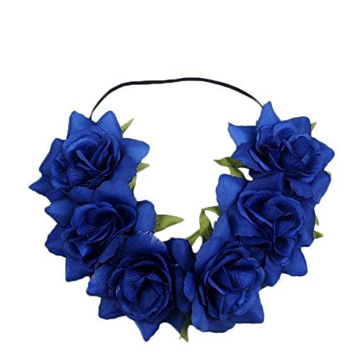 Kanggest 1 Piezas Diadema de Flores Mujer Venda de Pelo Alta Elasticid