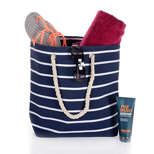 203c373ec78 Frauen Umhängetasche für den Strand aus Leinen Sommer Urlaub Stoffbeutel  Shopping Wiederverwendbar Handtasche Gestreift / Marineblau ...