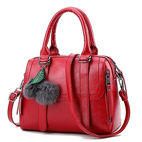 Wewod Neue Stilvoll Damen Einfarbige Prägung Diagonalen Umhängetasche Handtaschen Tragbare Schulter Messenger Bag Mit Zubehör (Weinrot)
