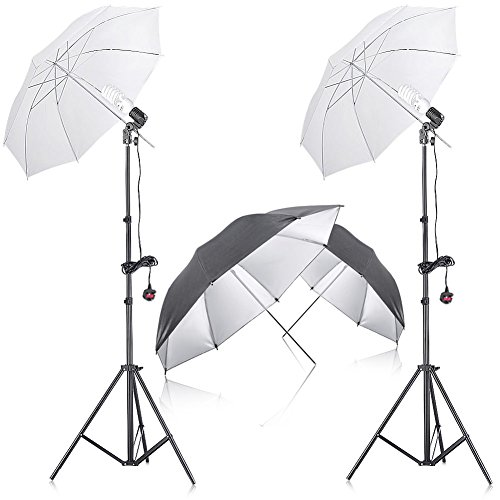 """Neewer® 400W 5500K Photo Studio Continuous Lighting Umbrella Kit with 2 Pieces 33"""" Black/Silver Umbrella for Portrait Photography,Studio and Video Shooting"""