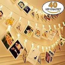 50LED Lichterkette Foto Clips Klammern Stimmungslicht Photo Clip Warmweiß Deko