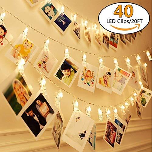 40 led foto clip stringa illuminazione, 6m led batteria foto clips 8 modalità luci decorative bianco caldo immagine illuminazione para foto memos, salotto, camera da letto, negozio, balcone