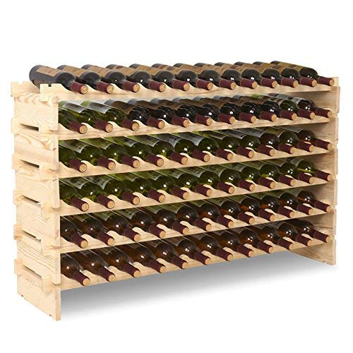 UEnjoy Stackable Modular Wine Rack Storage Stand Wooden Wine Holder Display Shelves, Wobble-Free, Solid Wood (6 Tier, 72 Bottles Capacity)