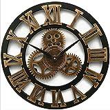 Mrzy Neue Große Wanduhr Vintage Gear Clock Amerikanischen Stil Wohnzimmer 3D Wanduhr Modernes Design Dekoration Für Zuhause Holz Uhren, B