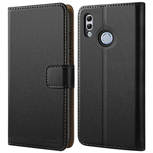 HOOMIL Pelle Premium Cover per Honor 10 Lite, Flip Case Custodia per Huawei Honor 10 Lite/Huawei P Smart 2019 - Nero