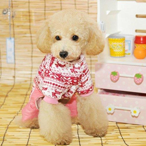 Generic Pet Dog Hoodie Winter Jumpsuit Coat Jacket Red- Size M