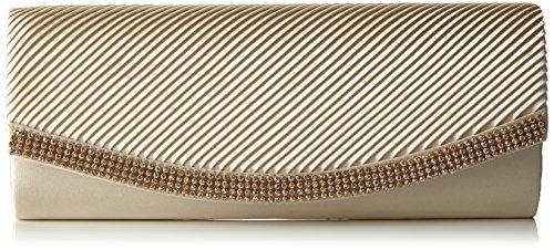 Berydale Damen Satin Handtasche mit Strassbesatz, Clutch Schultertasche mit Zusatzkette und Magnetverschluss, Elfenbein -