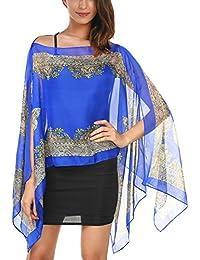 DJT T-Shirt Imprime Floral Tops A la mode Foulard Cover up