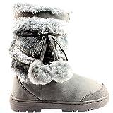 Holly Damen Schuhe Pom Pom Fell Schnee Regen Stiefel Winter Pelzstiefel, Grau, 39 EU