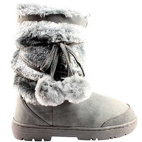 femmes-fourr-bottes-de-neige-pom-pom-gris-38