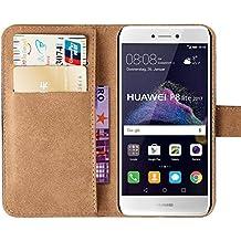 Huawei P8 Lite 2017 Funda, MATT SAGA Negro Carcasa Cubierta Cuero Genuino Billetera Flip Cover para Huawei P8 Lite 2017 Funda Cartera