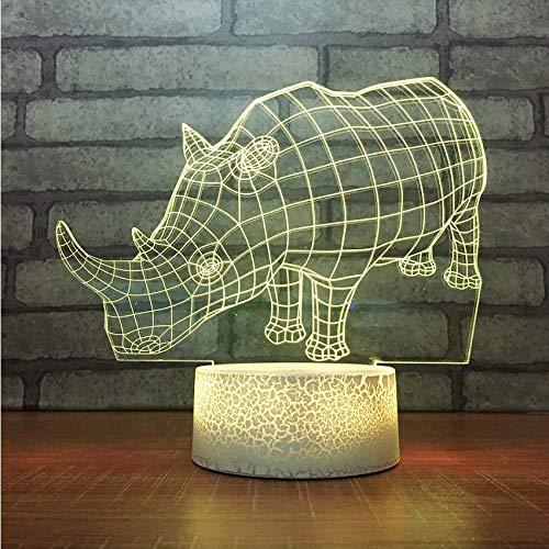 ganjue Kinder 3D Visuelle Touch-Taste Farbverlauf 7 Farben Ändern Für LED Rhino Modellierungen USB Tischlampe Baby Schlafen Tier Nachtlichter