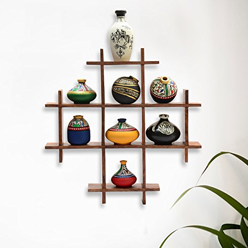 ExclusiveLane 8 Terracotta Warli Handpainted Pots With Sheesham Wooden Frame Decorative Wall Hanging - Wall Décor / Gifts Wall Shelves Corners
