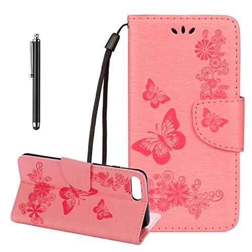 Cover per iPhone 7 Plus,per iPhone 8 Plus Custodia, ZCRO Portafoglio Cover in Cuoio PU Pelle Stand Protettiva Flip Case a Libro Farfalle Fiori Modello con Magnetica Strap e Penna Stilo Copertina Custo Design 2 Rosa