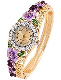Jewels Galaxy Gold Plated Charm Bracelet Watch For Women