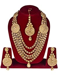 FULLY Golden Classy Very Trendy Traditional Long Rani Haar Necklace Set For Women And Girls / Rani Haar Long Gold...