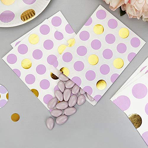 Papiertütchen Punkte lila gold 16,5 x 13 cm 25 Stück - Geschenktütchen Hochzeit Candy Bags Kindergeburtstag Mitgebsel Paper Bags Candy Bar Bonbontütchen Süßigkeiten-Tütchen Dots lila gold (Lila Candy Gold Und)