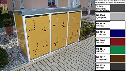 Metall Mülltonnenbox für 3 Tonnen, Müllcontainer, Müllbox. Made in Germany. # Größe: Für 3 Tonnen bis 240 l # Farbe: Farbenauswahl per EMail angeben # Dach: Mit Pflanzwanne # Stanzung: Serie