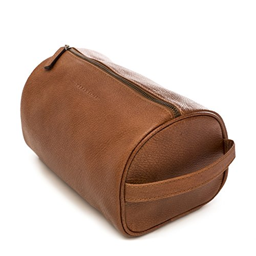 Urban Safari Luxury Leather Wash Bag, Toiletry Bag (Tan Brown)