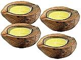 infactory Mückenkerzen: Anti-Mücken-Kerzen in Kokosnuss-Schale (4er Set) (Insektenkerze)