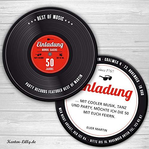 Einladung Schallplatte LP als Bierdeckel als Einladung zum Geburtstag, Party music, record, runder geburtstag, Individualisierbar, Ihre Texte (50)