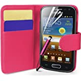 Supergets® Samsung Galaxy Ace 2 I8160 Wallet Side Flip Case Covers Screen Protector And Polishing Cloth Hot Pink