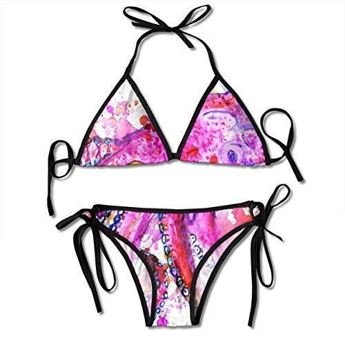 Bunte Aquarell Malerei Krake Frauen Sexy Bikini Set Badeanzug Badeanzug Dreieck Bademode Zweiteilige Anzüge