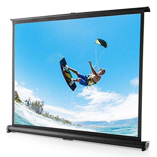 FrontStage TSVS 50 • Tischleinwand • Mini-Leinwand • Beamer-Leinwand • Format 4:3 • 102 x 76 cm • Heimkino & Präsentationen • Schwarze Metallkassette • integrierte Standfüße • transportabel • schwarz