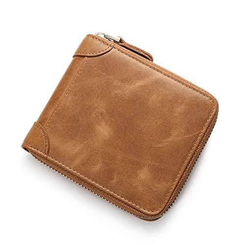 Detail Zip Wallet (Easy Go Shopping Herren Leder Reißverschluss Geldbörse Zip Around Wallet Bifold Multi Kartenhalter Geldbörse. (Farbe : Naturals))