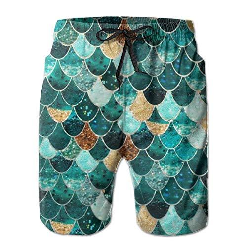 Bensontop Herren Quick Dry Badehose Shorts Beachwear-Grün Topo Earth Science L