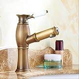 Retro Deluxe FaucetingRubinetto Deluxe nuovo arrivo home decoration maniglia Singola Bagno Lavabo rubinetto miscelatore gru tocca antichi ottone Rubinetto acqua calda e acqua fredda H6360,l'ottone,antico