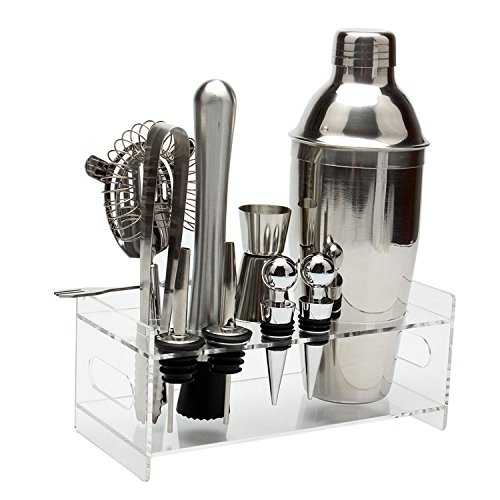 10 Stk Edelstahl 550 ml Cocktail Shaker Set Jigger Mischlöffel Tong Barware Barkeeper Werkzeuge mit Acryl Lagerung Stehen für Bars Home Mixgetränke