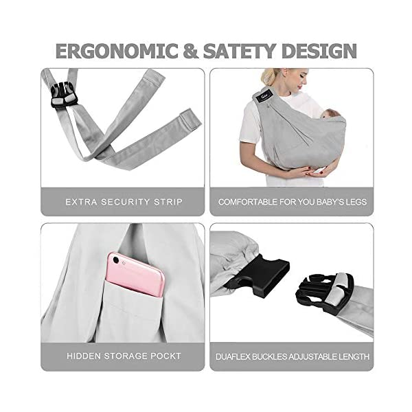 Cuby Baby Slings Carrier for Newborns and Breastfeeding (Grey) CUBY Durable Weight Baby Sling:Designed to carry babies who are 0 to 36 months old and weighing no more than 44 pounds. Five Different Carrying Positions: Including two perfect and convenient for breastfeeding. Cuby's baby carrier allows you to carry your baby in the same position they used in the womb, gives your baby a familiar sense of security and makes it easy for you to enjoy eye contact to bond with your new bundle of joy. Premium Cotton: The baby carrier by Cuby is made of 100% high quality cotton. It is soft, skin-friendly and breathable. 5