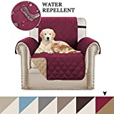 BellaHills Reversible Chair Slipcover Armchair covers for Living Room, Sofa Covers for Dogs with 2' Wide Adjustable Straps, Machine Washable Furniture Protectors for Sofas (One Seater: Burgundy/Tan)