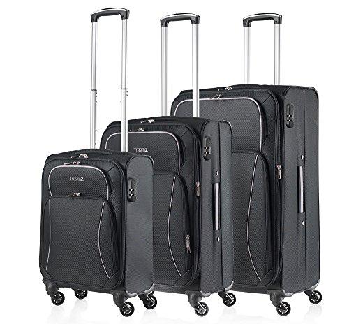 Travelz Softspinner 3er Softbag Kofferset Koffergepäck Gepäckset schwarz