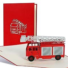Idea Regalo - Biglietto auguri pompiere, invito festa compleanno bambini, camion pompieri a comparsa, taglio al laser, realizzato a mano, busta inclusa, colore rosso