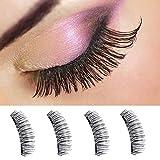 Yidarton Magnetic False Eyelashes, Reusable Fake Eyelashes Natural Eye Lashes, No Glue,Cruelty Free (4pc-dual magnets)