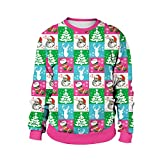 Hsheng Christmas Costume Christmas Costumes Explosion Models Round Neck Long-sleeved Sweater Christmas Wild Blouses (Color : SB102-008, Size : XXL)