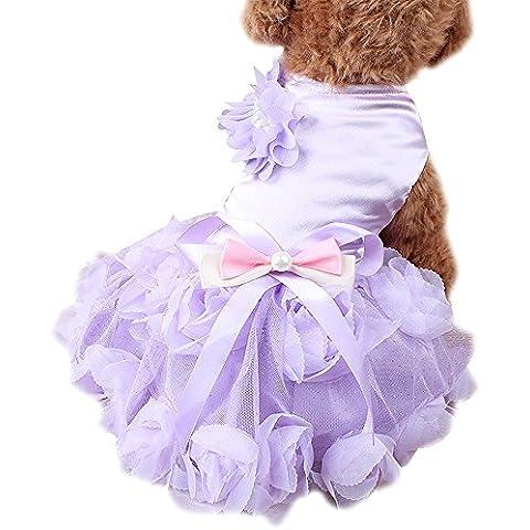 Vestido de Novia de Ropa Para Mascotas Gatos Perros Cordón de la Perla (M, Púrpura)