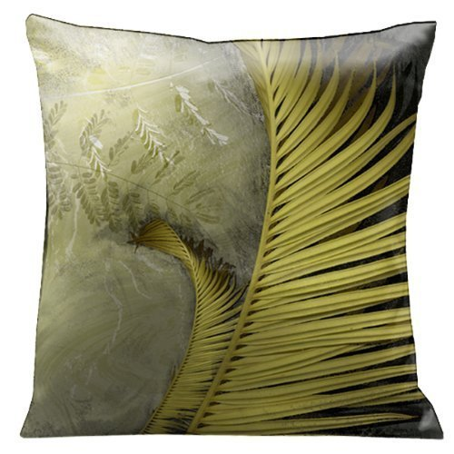 Microsuede-lounge (KAKICSA Cotton Linen Decorative Throw Pillow Case Cushion Cover Green Ferns 2 on a White Marble Micro-Suede 18x18)