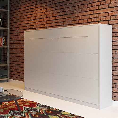 Schrankbett SMARTBett Klappbett Querbett 140cm, horizontal ausklappbar Weiß - 6