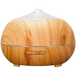 Tenswall, Humidificador ultrasónico Tenswall de 400ml de capacidad, difusor de aromaterapia, difusor de aceites esenciales, exclusivo diseño con aspecto de madera, purificador de aire con LED de 7 colores para el hogar, oficina, Spa, dormitorio