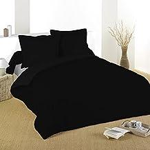 Lovely Casa Alicia - Funda de edredón (100% algodón, 57 hilos),  color negro, 200 x 200 cm