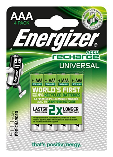 Energizer E301375700 NimH-Akku Rechargeable Universal Micro (1,2Volt 500mAh, vorgeladen 4er-Packung) Silber