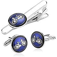 Uomo Gemelli Acciaio Inossidabile Argento Blu Bicicletta Tondo Clip Tie di Gemelli Set per Uomo per